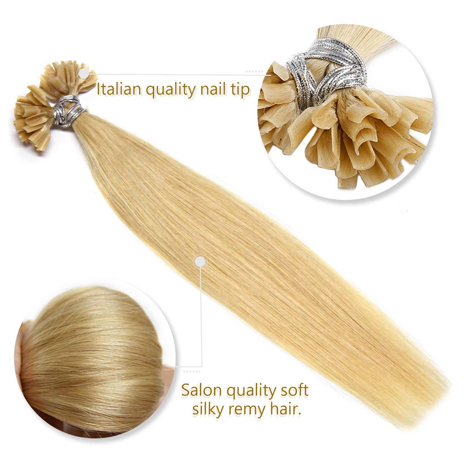 Pin by Beauty Hair on Nail Tip U Tip Remy Hair extensions
