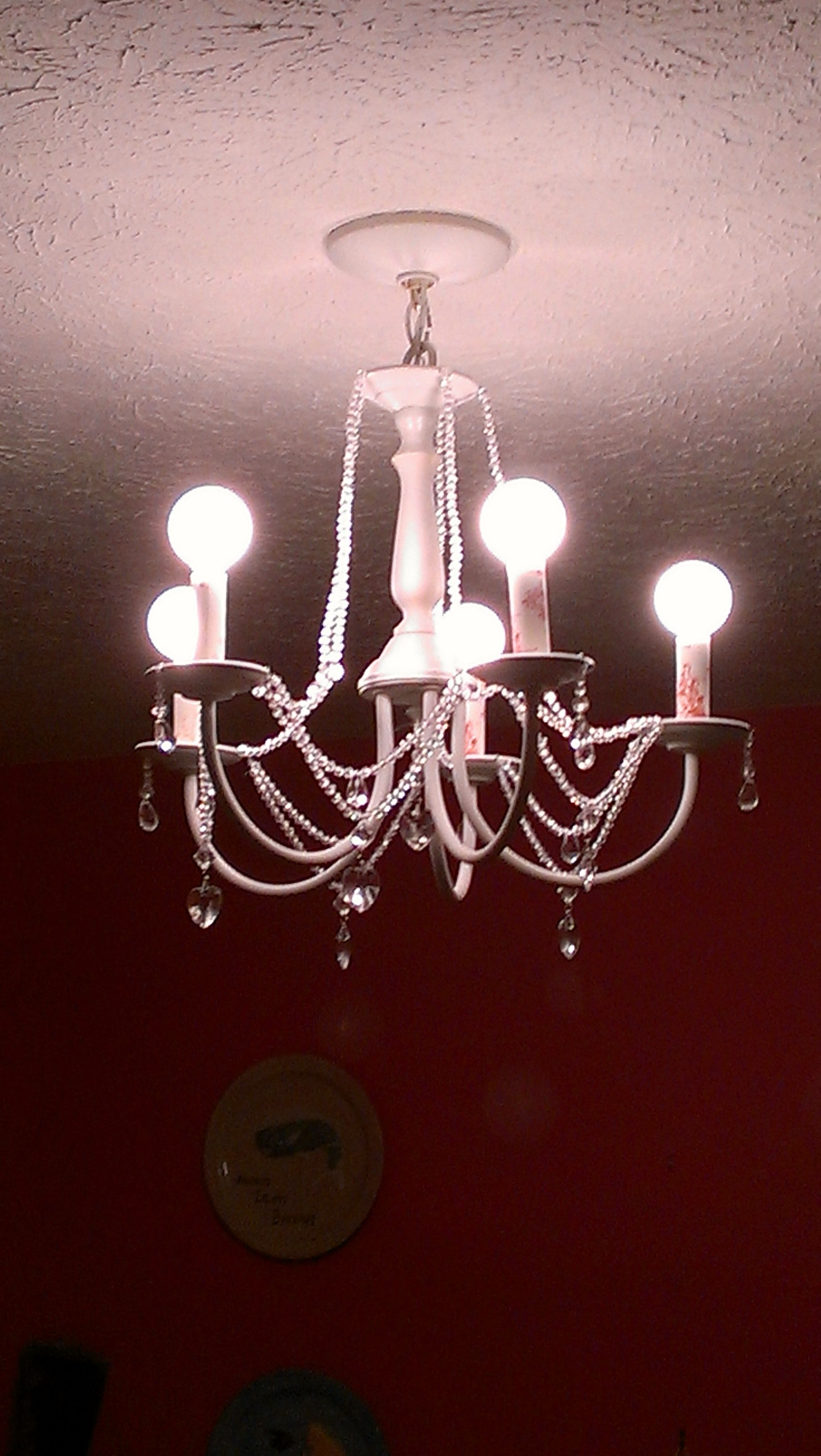 new products 8c51a e292c Upcycled chandelier, painted white, added acrylic beads ...