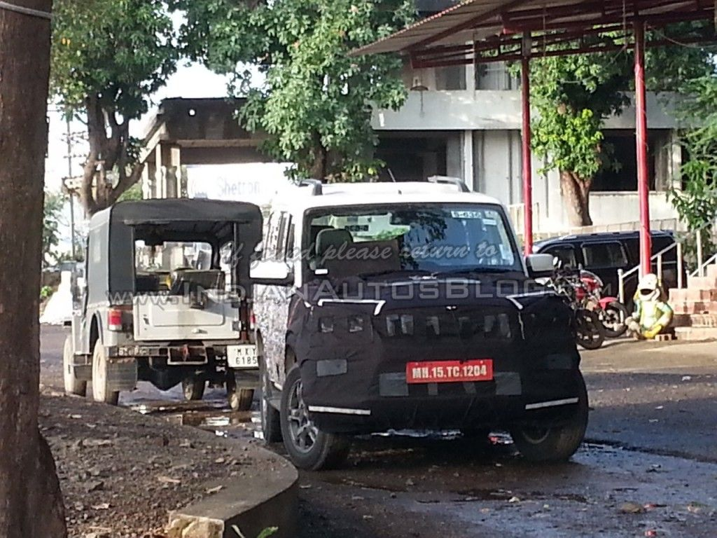 Spied iab reader snaps the mahindra scorpio facelift on test