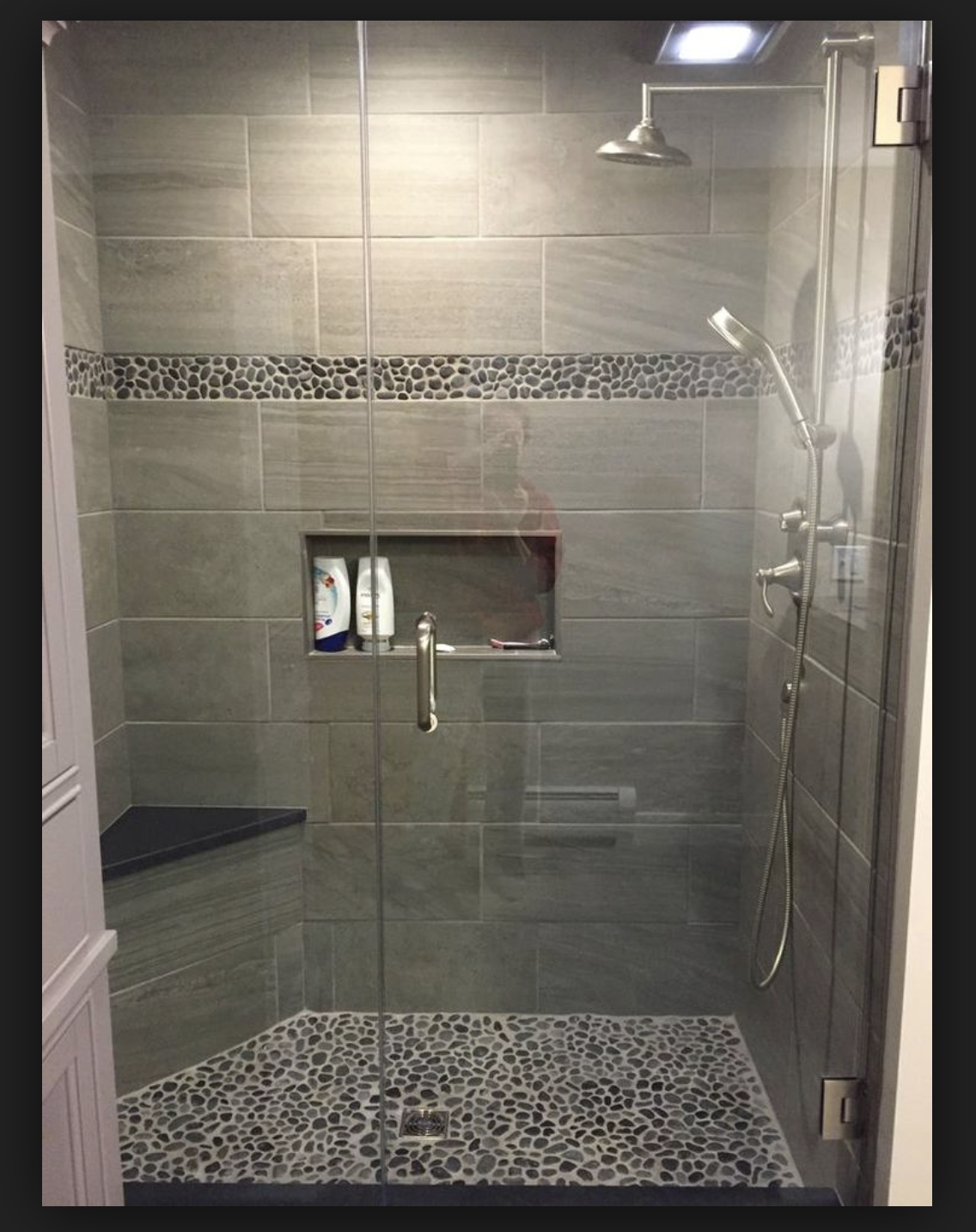 Tile instead of pebbles bathrooms bathroom shower - Bathroom wall covering instead of tiles ...