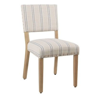 Set Of 2 Stripe Dining Chair Blue White Homepop Dining Chairs