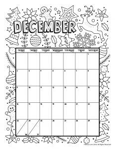 Print December 2019 Calendar Page Printable Coloring Calendar for 2019 (and 2018!) | Calendar pages