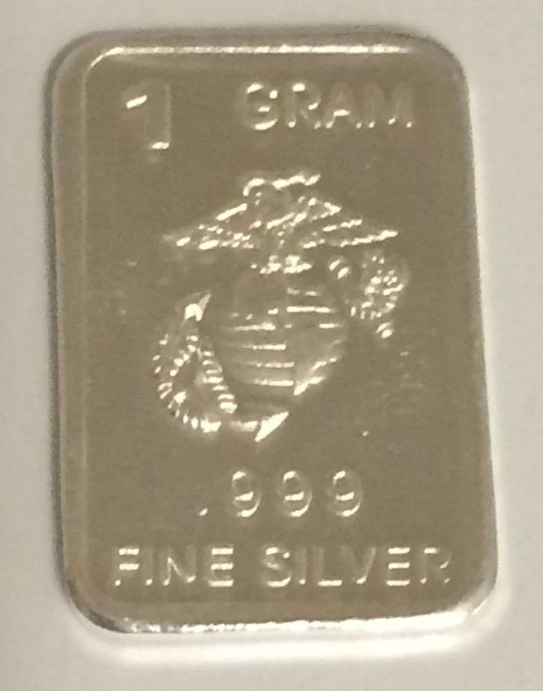 1 Gram Silver Bar Marines 999 Fine Silver Bullion Bar Round G Gr Coin Pure Silver Bars Silver Bullion Pure Products