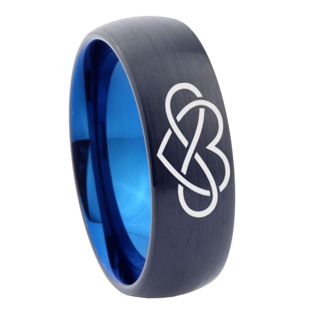10mm infinity love dome tungsten carbide blue mens