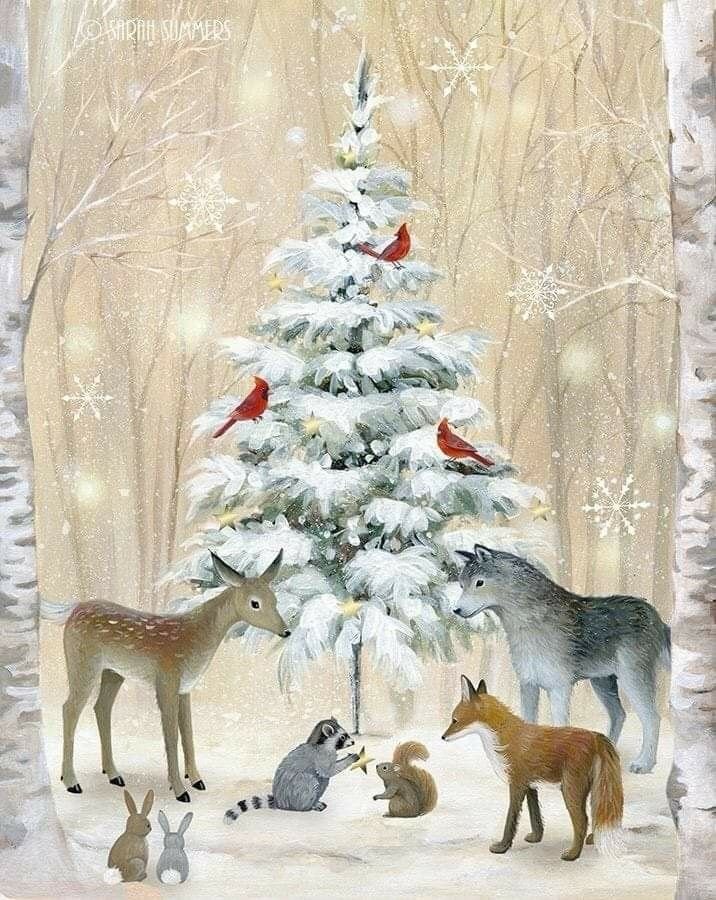 Metsän eläimiä kokoontuneena kuusen juurelle - #eläimiä #juurelle #kokoontuneena #kuusen #Metsän #woodland #vintageweihnachten
