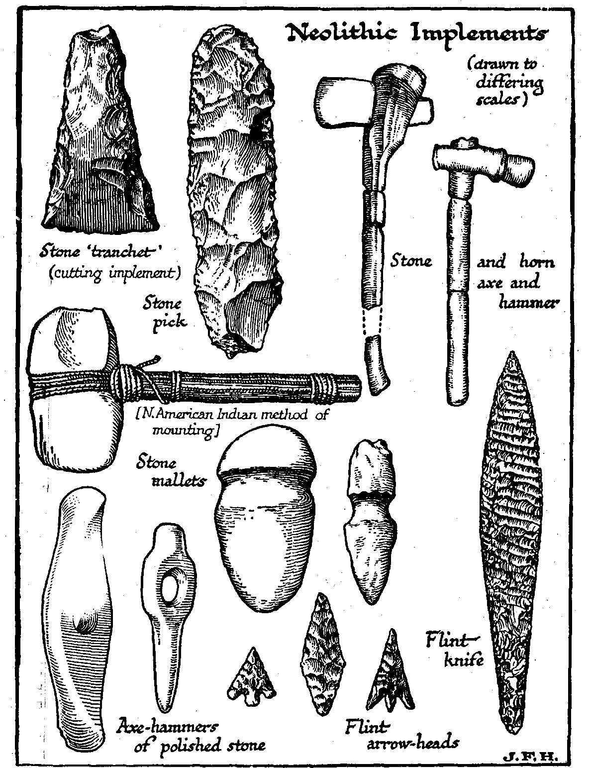 These neolithic tools include; stone mallets and hammers