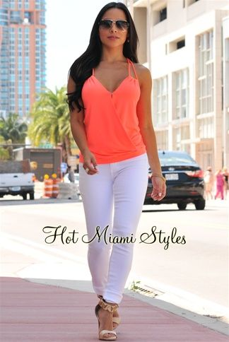 Neon Coral Gold Accent Halter Top