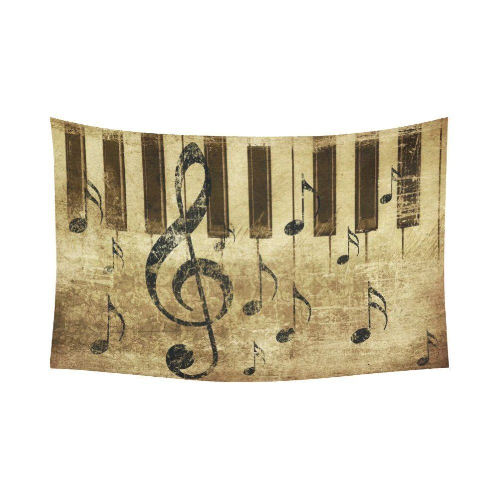 Music Wall Art Home Decor, Vintage Retro Music Notation Tapestry ...