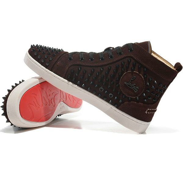 a25e4acfaf0c Brown Christian Louboutin Louis Spikes High Top Sneakers Flat Su ...