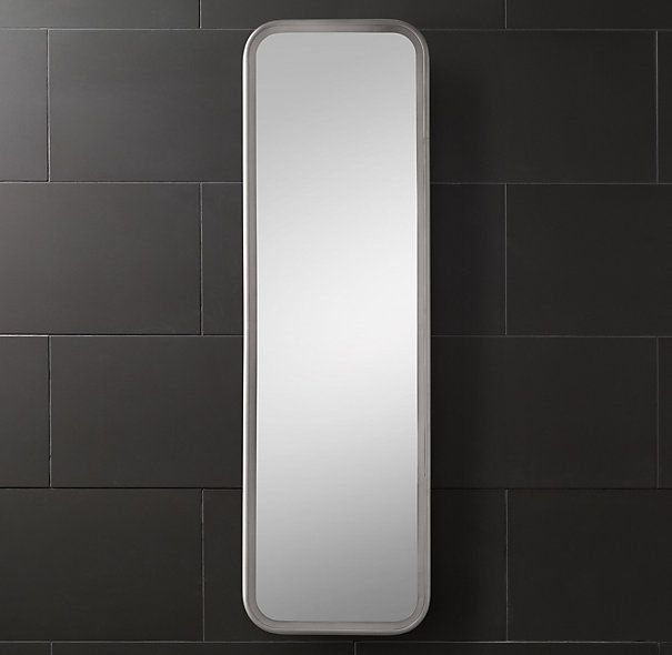 Rh astoria full length mirror framed in solid aluminum for Full length bathroom mirror