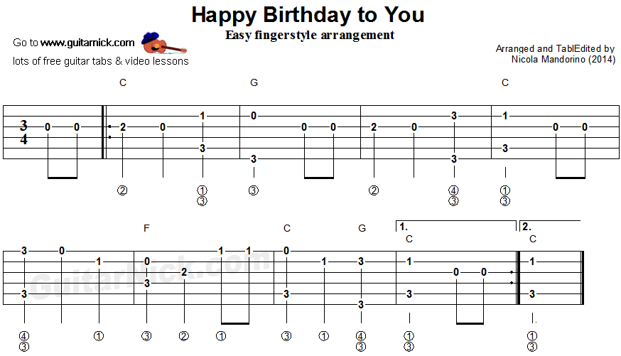 Happy Birthday To You Fingerstyle Guitar Tablature Guitar Music