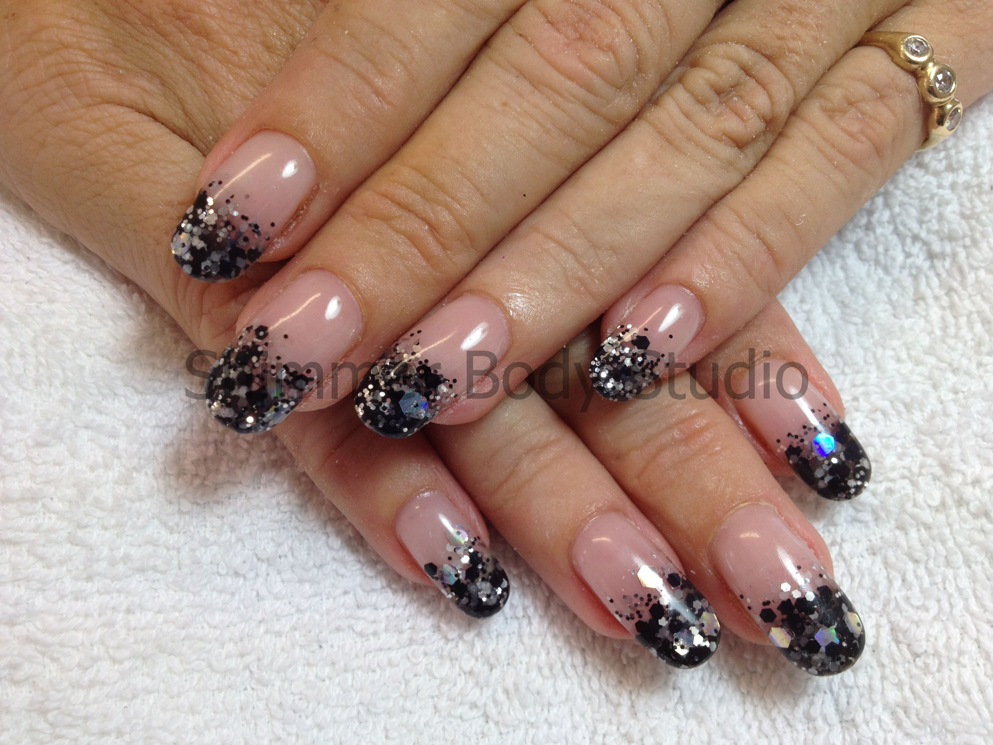 Gel nails, rounded nails black silver and white glitter, glitter ...