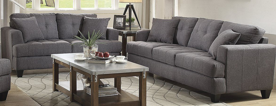 Coaster Samuel Charcoal 2 Piece Sofa And Loveseat In 2019