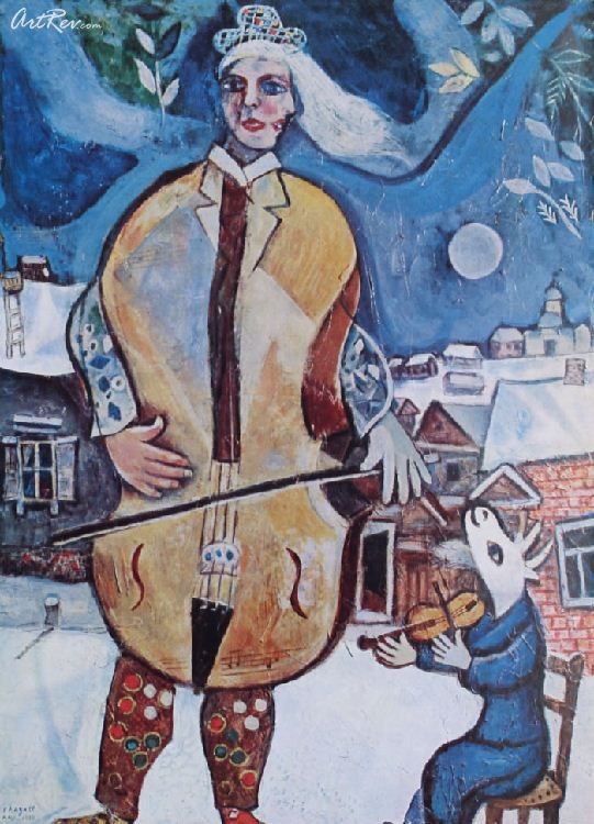 The Cellist By Marc Chagall Offset Lithograph Violin