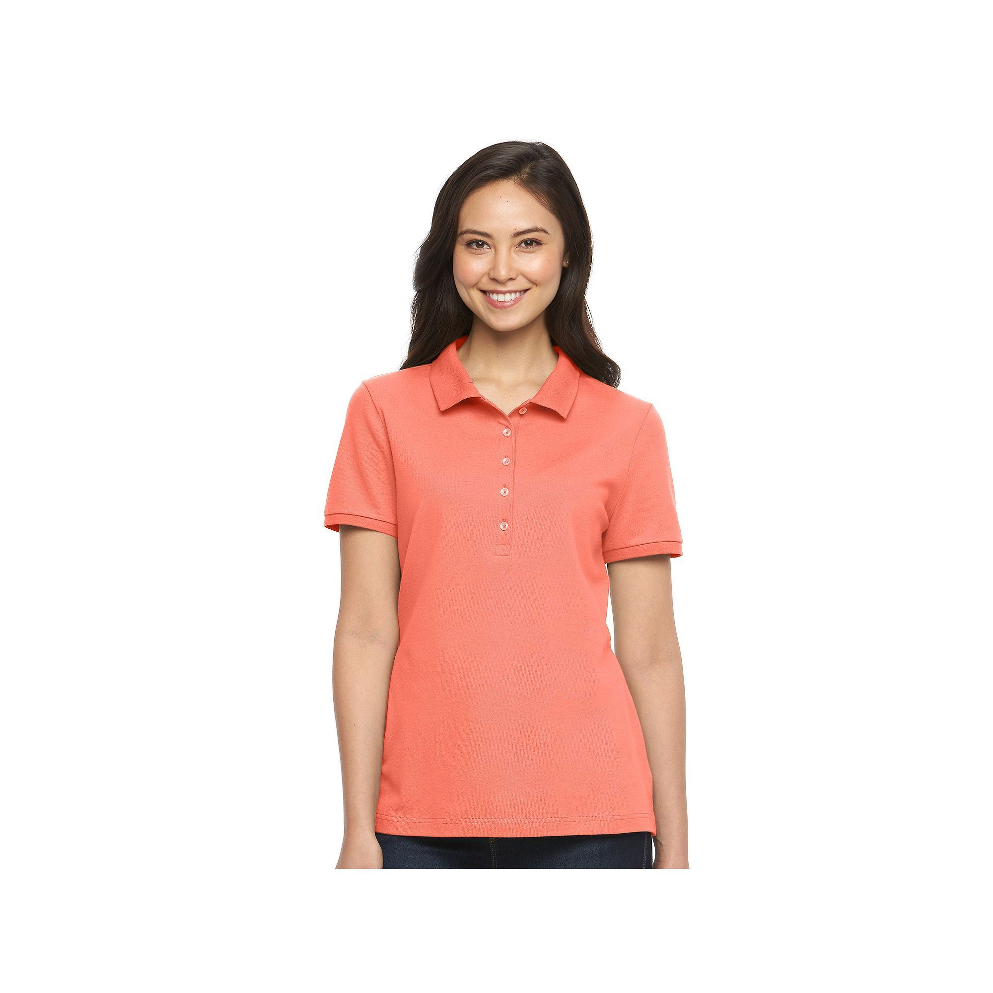 Women's Croft & Barrow® Classic Solid Polo, Size: Large, Med Orange