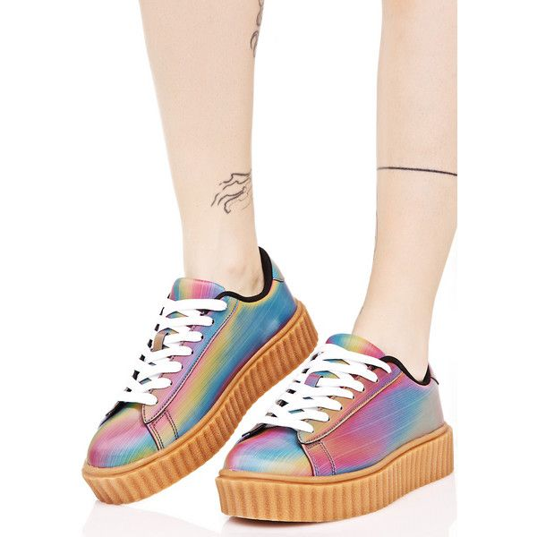 Rainbow Holo Creeper Sneaker ($38) ❤ liked on Polyvore featuring shoes,  sneakers,