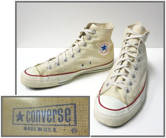 32e5a80aa829 1960 s Vintage Converse Chuck Taylor All Star High Top Canvas Mens Sneaker  Size 11 Made in USA by schippervintage