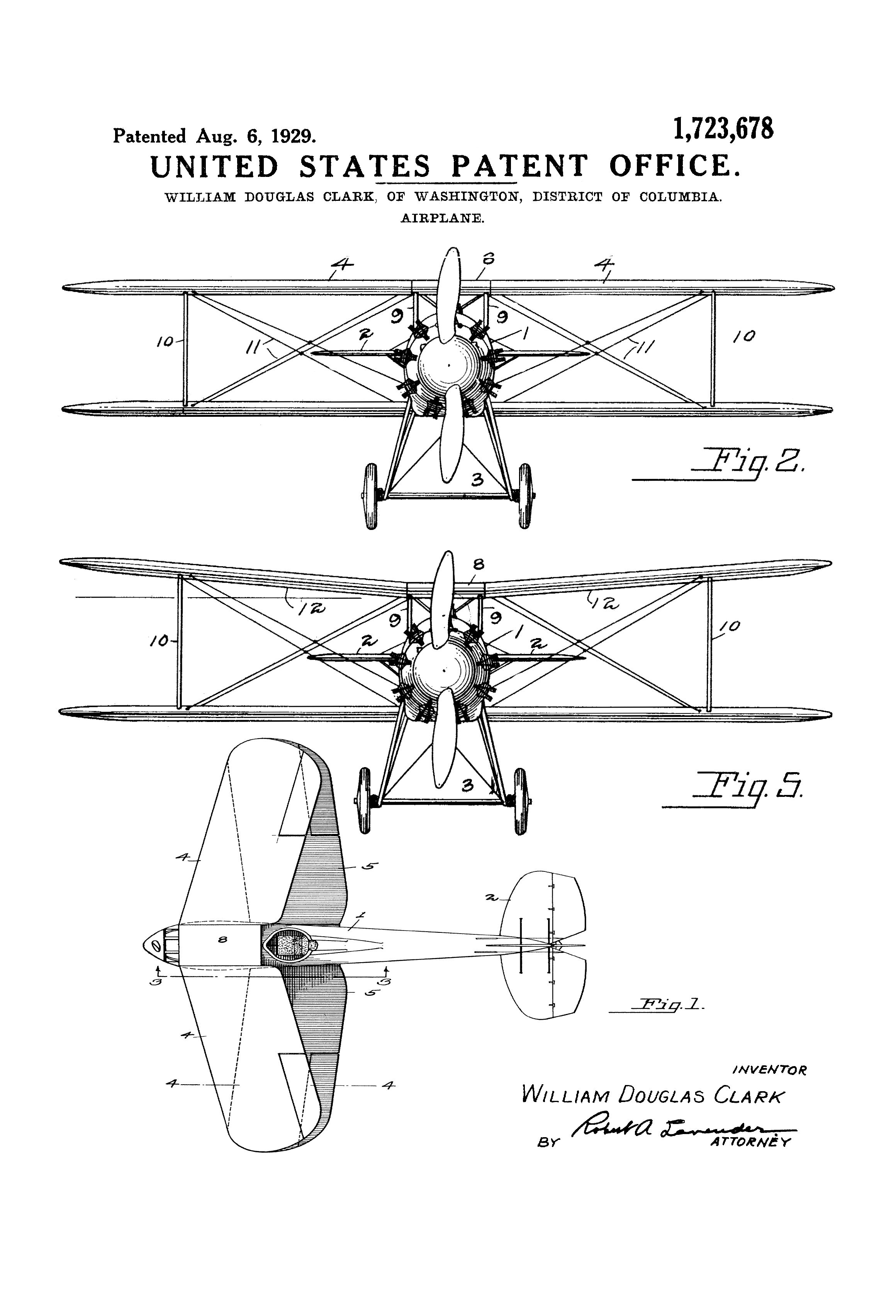 Biplane patent print vintage airplane airplane blueprint patent print poster of a biplane invented by william douglas clark the patent was issued malvernweather Choice Image