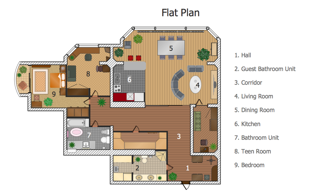 Samples Of Floor Plans Are Created Using Conceptdraw Pro Diagramming And Vector Drawing Software