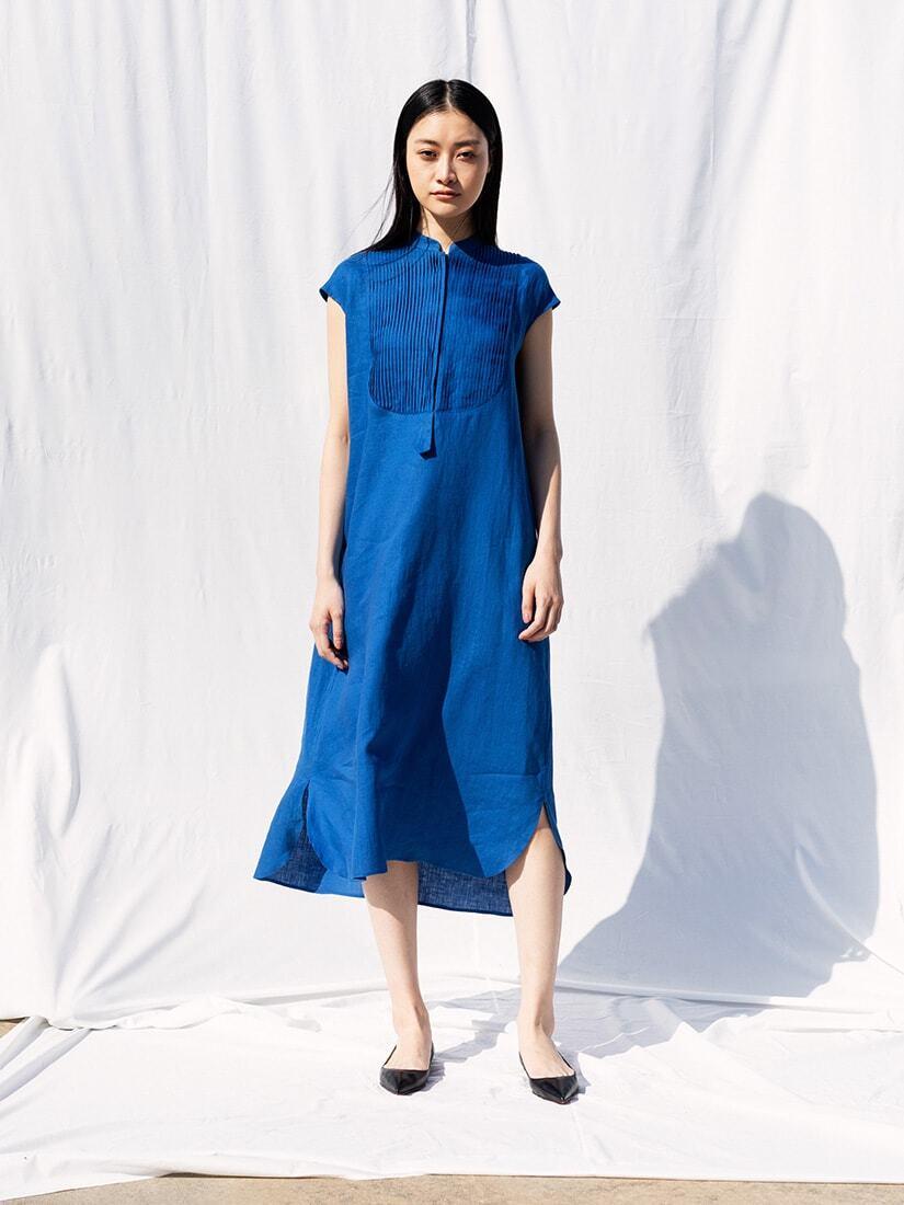 linen pin tucked shirt dress saqui store シャツワンピース ワンピース チノ