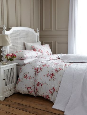 garden rose white bed linens with red pink flowers by shabby chic from rachel ashwell