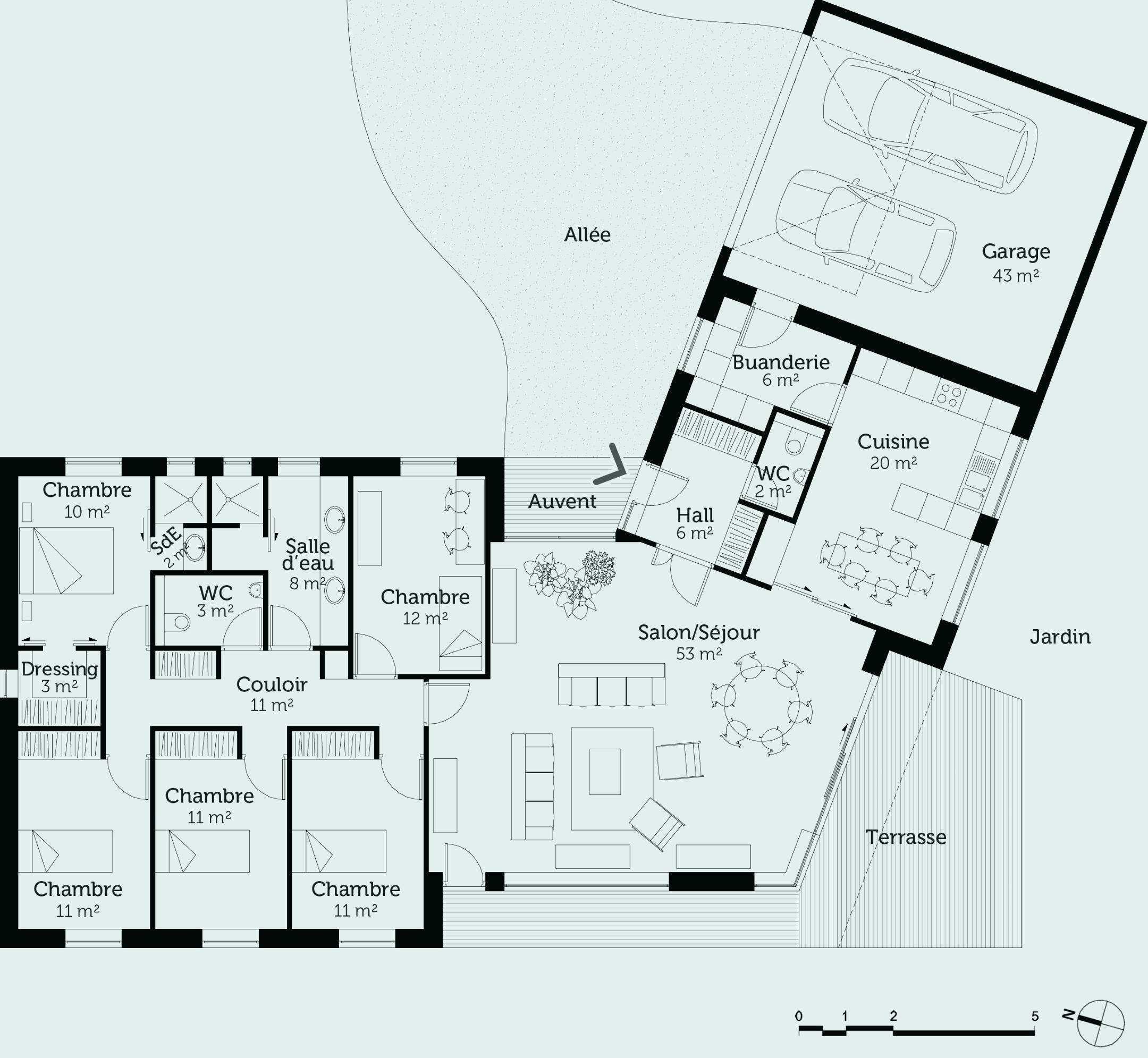 Dimension Maison Plain Pied Plan Maison 3 Chambres Plain Pied Maison Galerie Plan De Maison En V Maison En V Plan Maison Plain Pied