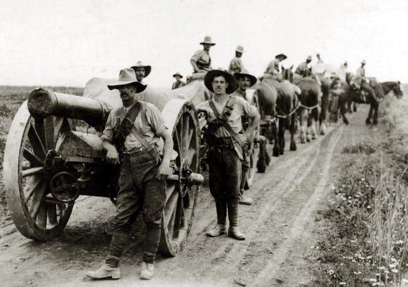 WWI.  Allied heavy artillery in Salonika.