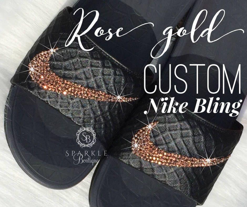 separation shoes c2ee5 fd035 Rose Gold - Nike Slides - ALL SIZES - Crystal - Benassi Solar Soft- Custom  - Bling Nike by SparkleBoutique2U on Etsy