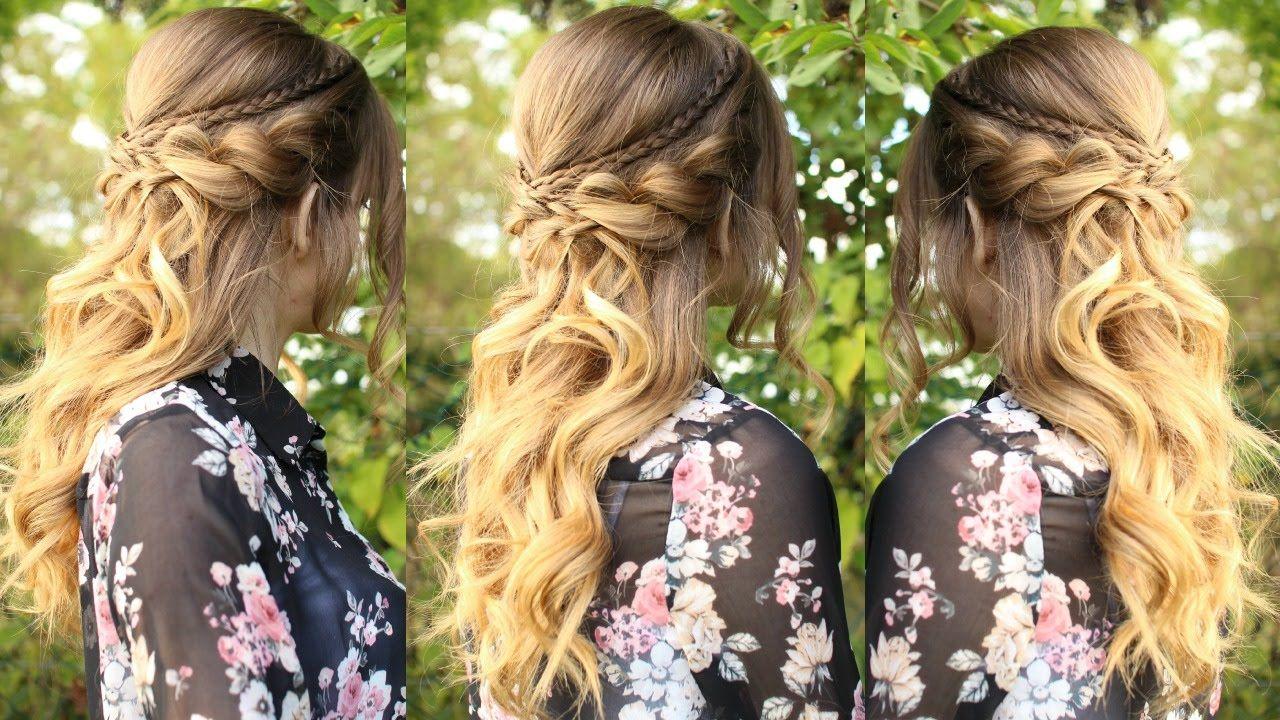Romantic half up half down hairstyle with curls braidsandstyles