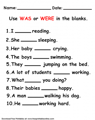 5 Year 4 English Worksheets Printable Free Was And Were Worksheet In 2020 English Lessons For Kids English Worksheets For Kids Learn English Words