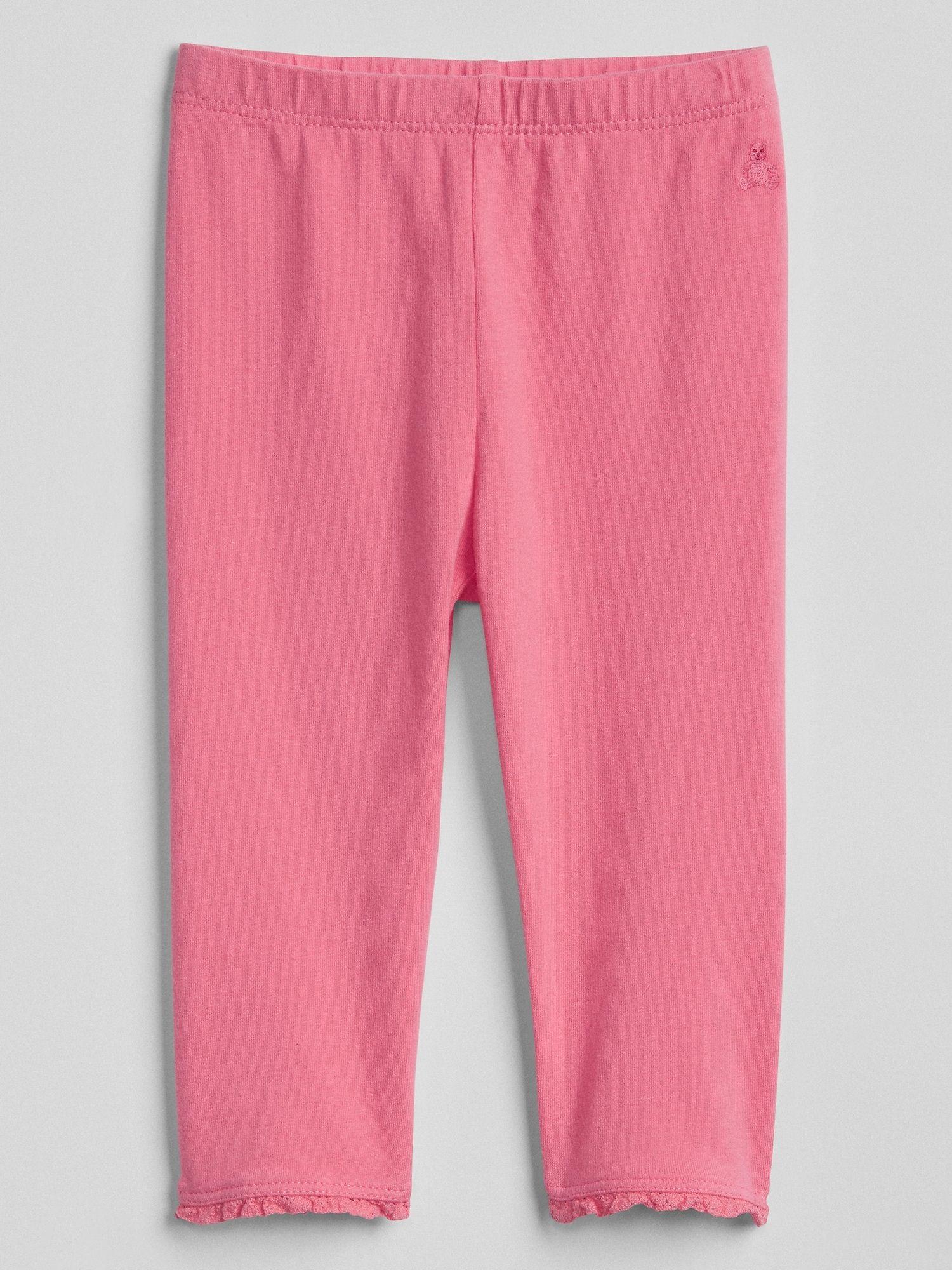 4b8baff28ce3d Baby Lace-Trim Leggings   Baby P   Lace trim, Pink leggings, Leggings