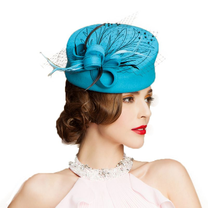 FS Fascinator 100% Australia Wool Pillbox Hat Women Sky Blue Felt Derby Ladies  Formal Church Hats Winter Flowers Wedding Femme-in Fedoras from Women s ... f1bcd320ab8e