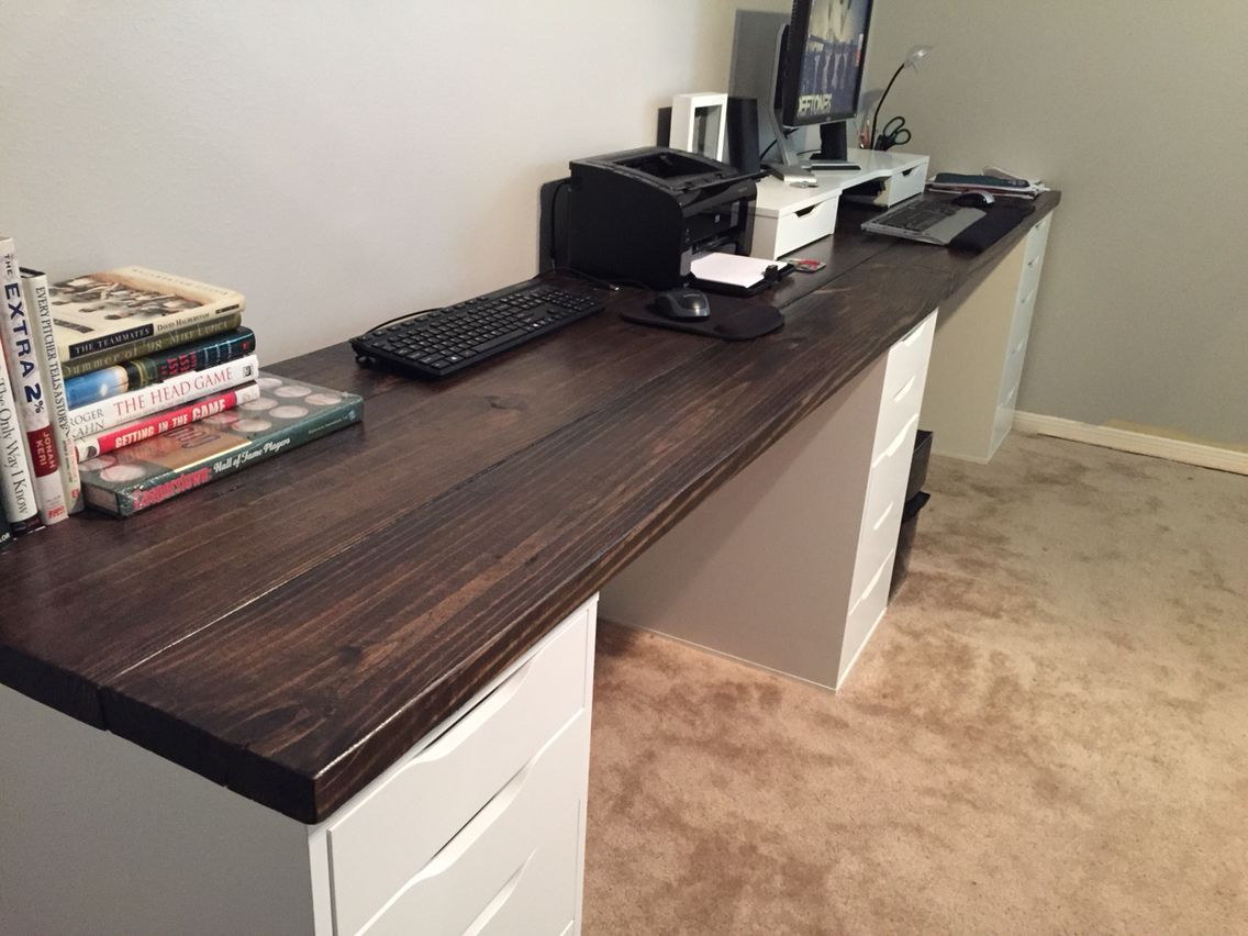 10 Ft Long Wood Office Desk I Used 2x8x10 Pine Wood And Ikea Drawers As A Base Love That It Has Two Work Ikea Home Office Wood Office Desk Home Office Design