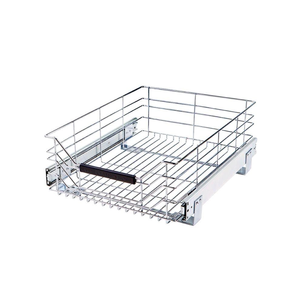 Seville Classics 14 In W X 17 75 In D Pull Out Sliding Steel Wire Cabinet Organizer Drawer She16228b The Home Depot Pull Out Drawers Kitchen Cabinet Organization Cabinets Organization