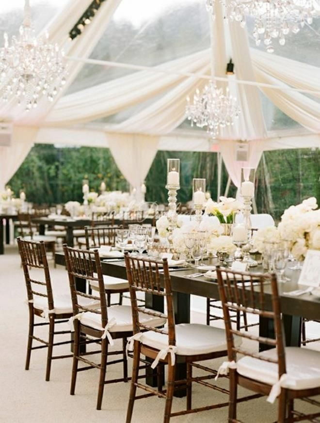 White clear tent + draping