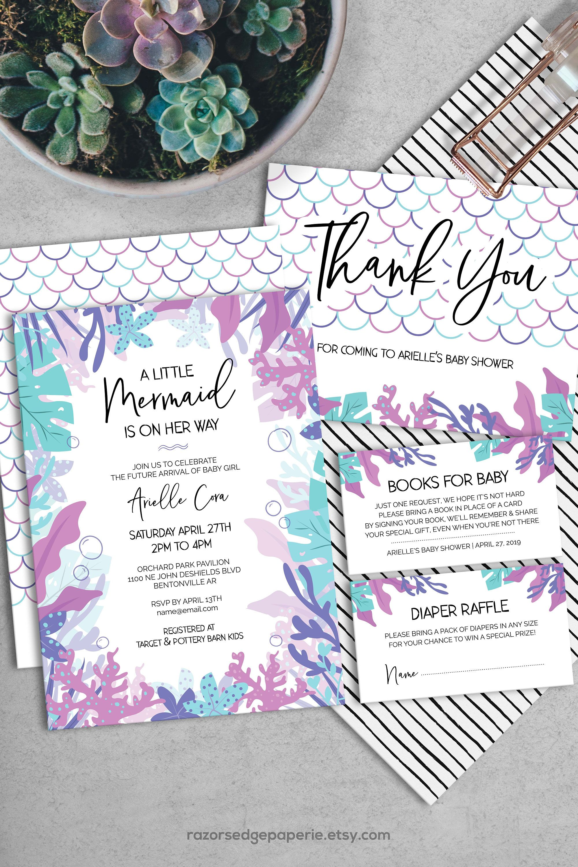 image about Printable Mermaid Baby Shower Invitations called PRINTABLE Mermaid Child Shower Invitation Pack Quick