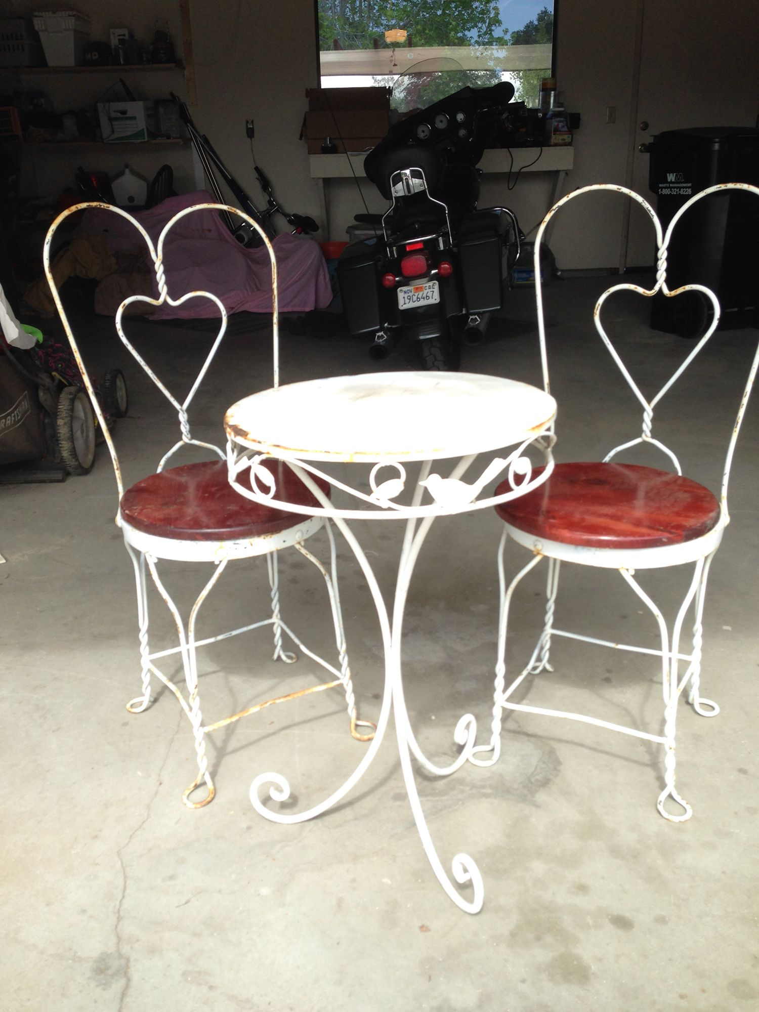 ice cream table and chairs small leather for living room before diy furniture makeover patio vintage