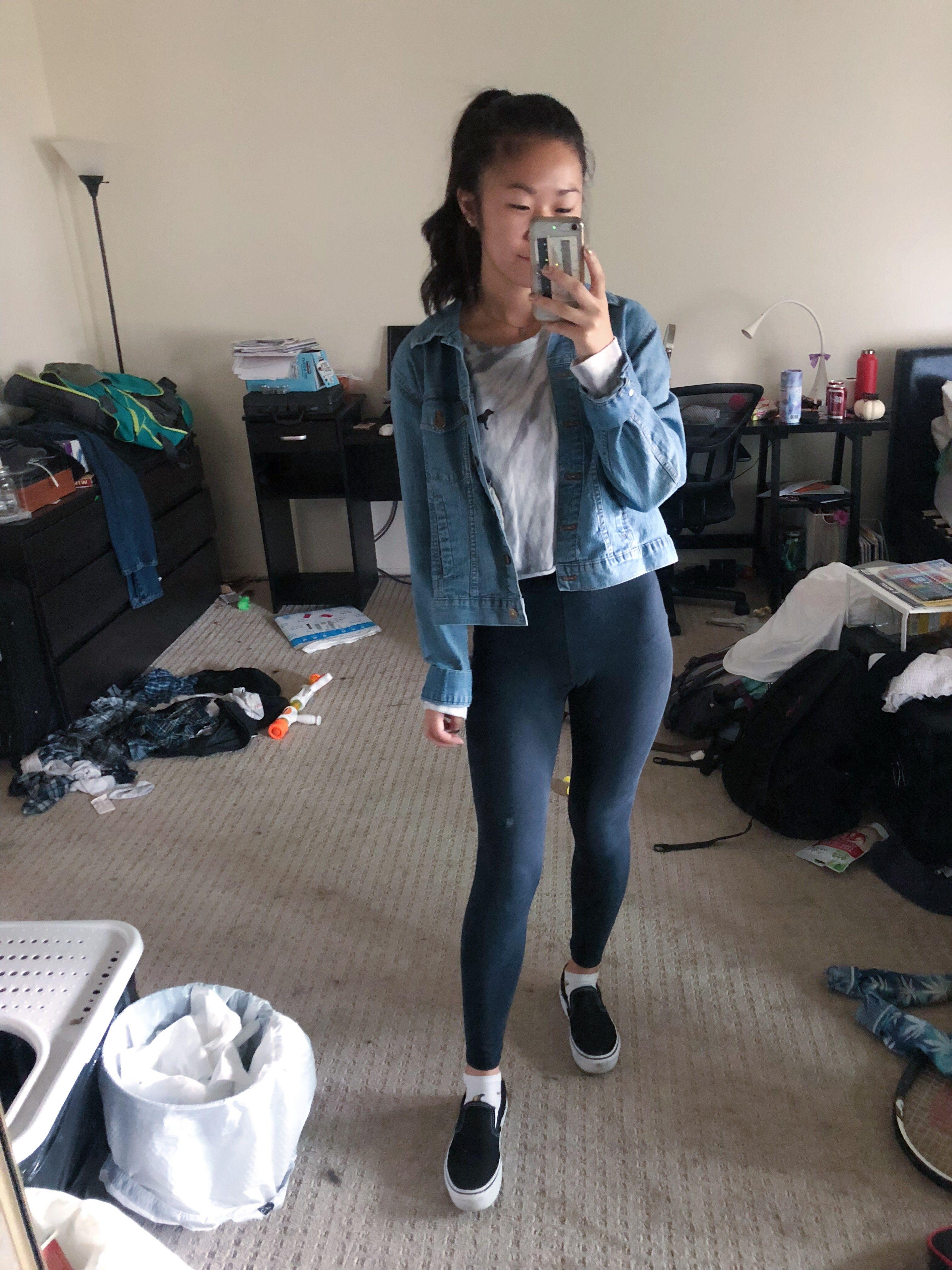 Tie dye top, jean jacket, leggings, platform vans