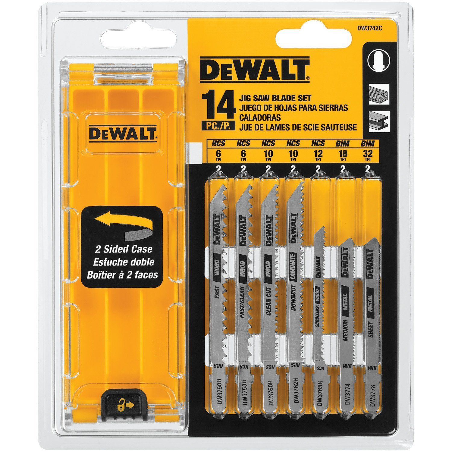 Dewalt dw3742c 14 piece t shank jig saw blade set with case blade keyboard keysfo Choice Image