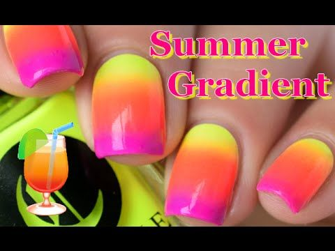 Nail Art Simple Summer Gradient Nails Tutorial With Sponge