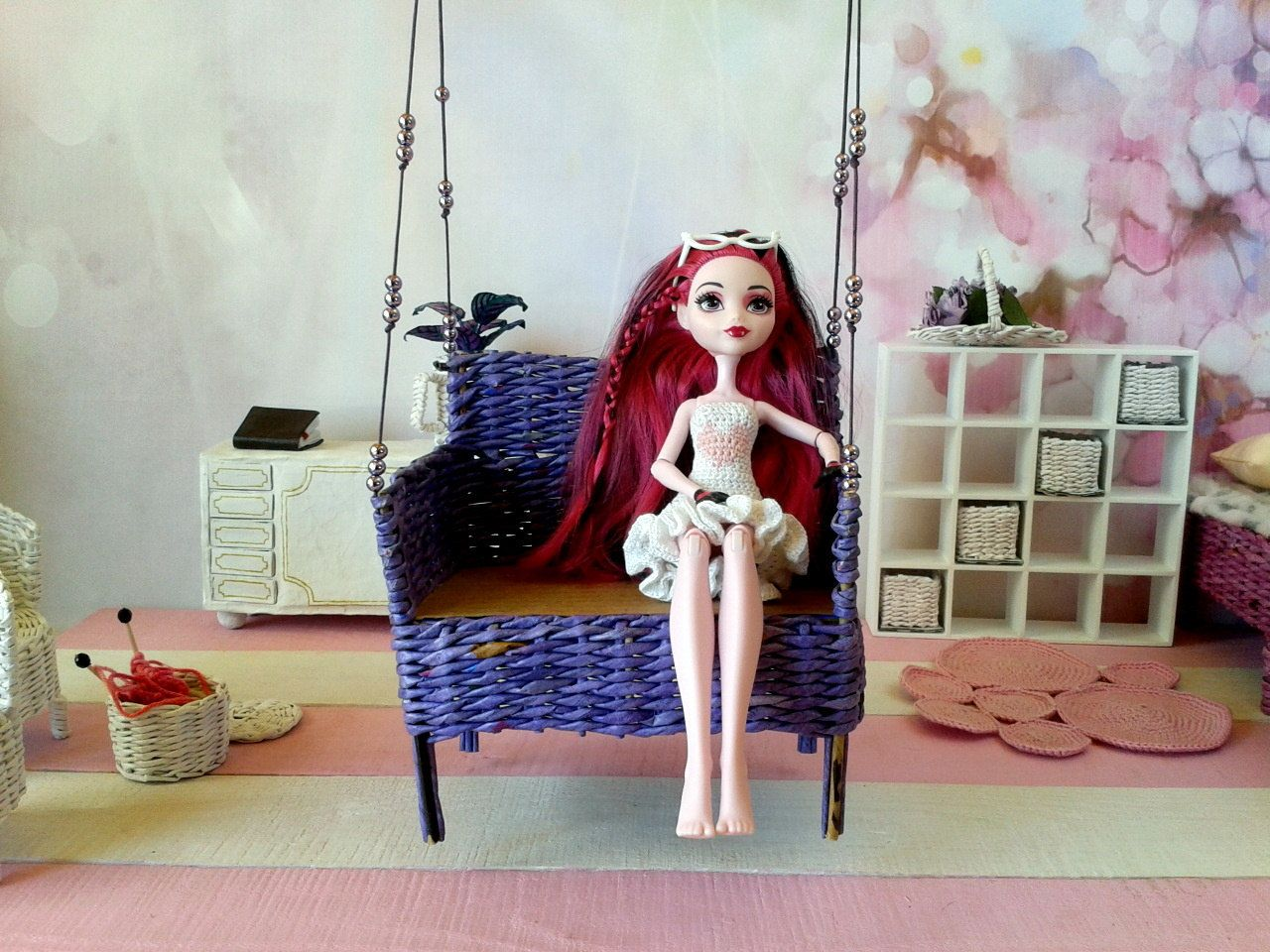 doll furniture recycled materials. 18 Inch Doll Couch, Sofa. Lounge For Super Dollfie (BJD SD), Azone And Other. Ooak Furniture Toy. Wicker From Recycled Materials White Color