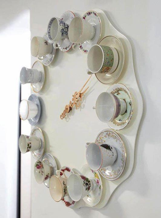 Original reloj para cocina hecho con tazas baby shower for Reloj de cocina original