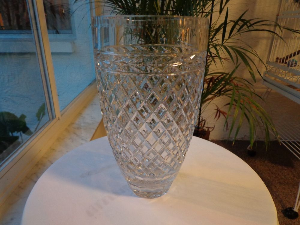 Rogaska Crystal Vase 10 Unknown Pattern Signed Rogaska Rogaska