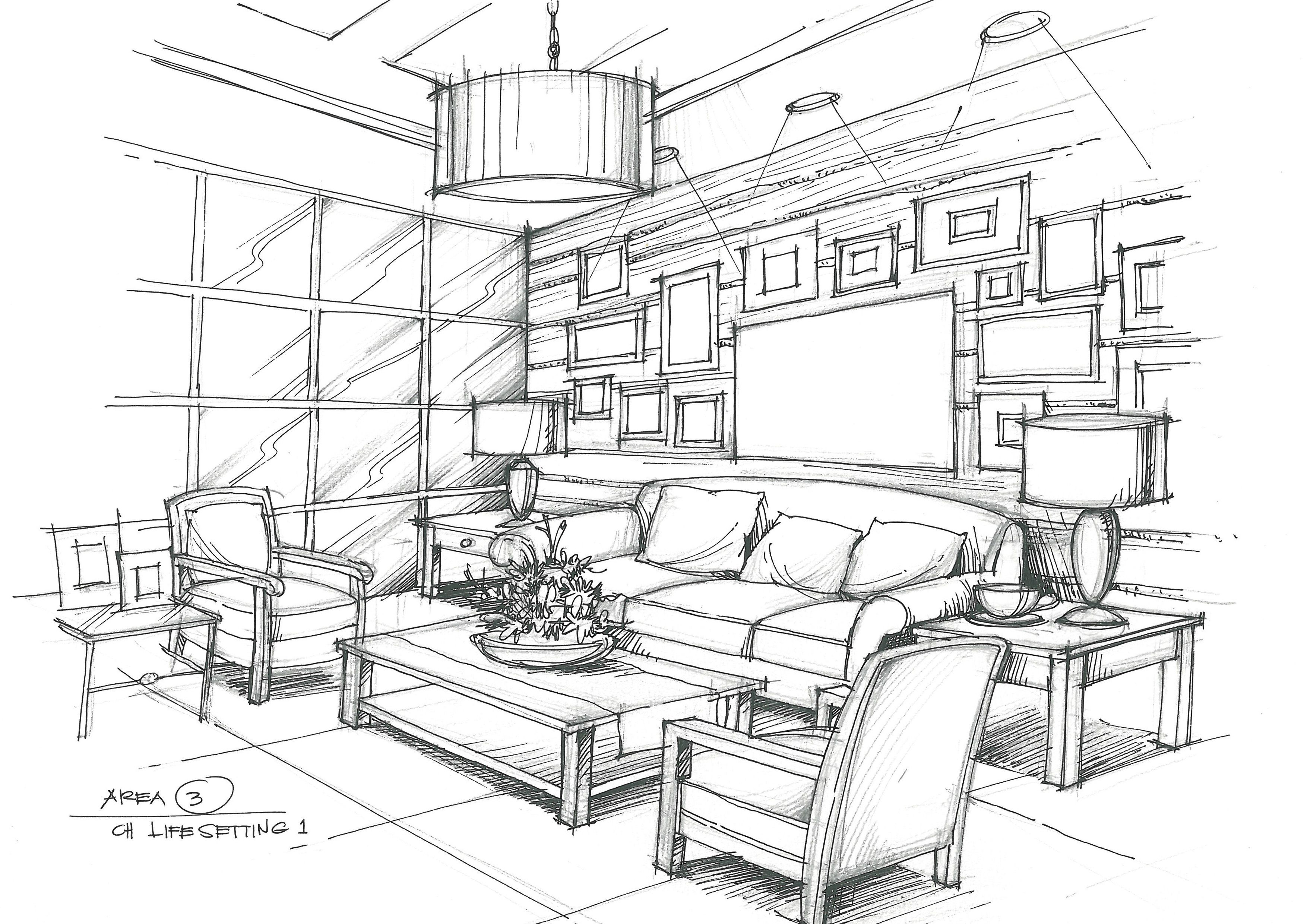 Living Room Interior Design Sketches Interior Architecture