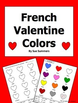 french valentine colors activity worksheet french language color activities french colors. Black Bedroom Furniture Sets. Home Design Ideas