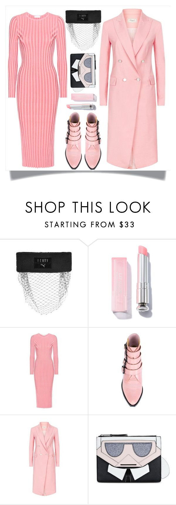 """Pink Coat"" by skad183 ❤ liked on Polyvore featuring Puma, Altuzarra, Toga, Temperley London and Karl Lagerfeld"