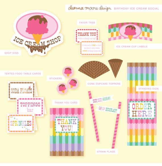 Birthday Ice Cream Social Party Details by deannamooredesign, $20.00