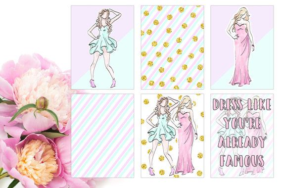 Journaling cards - Pastel fashion | Perfect for your filofax / erin condren planner etc