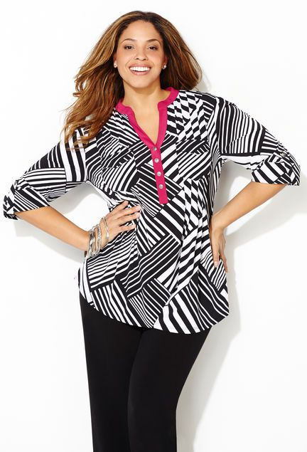 ROLL SLEEVE SHIRT Plus size style in sizes 14-32 available online at avenue.com.