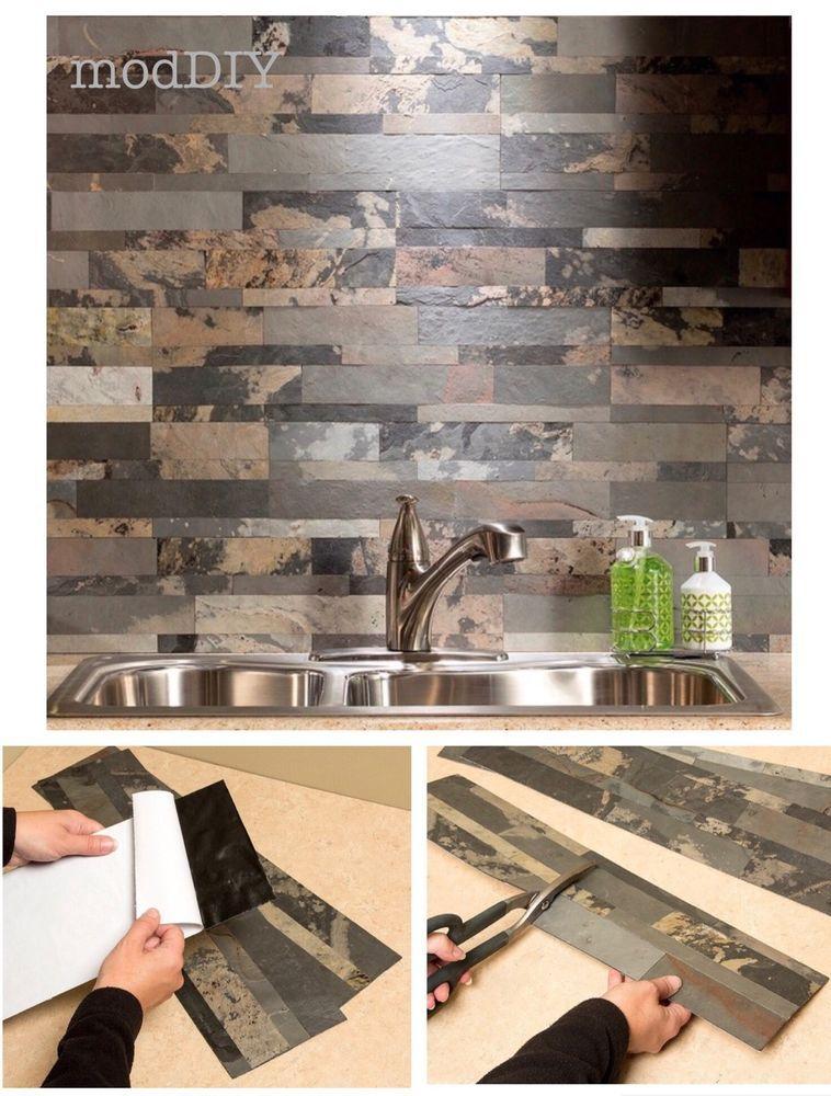 Self Adhesive Backsplash Kitchen Tile Panels Natural Stone Veneer Peel And Stick